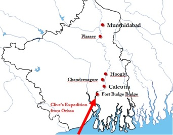 Bengal in 1750s. This map is not accurate; it is only intended to give an estimation. Bengal borders are modern-day, not a reflection of Bengal in 1750s.