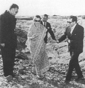 Mrs. Gandhi at the Pokhran Nuclear Testing site in 1974