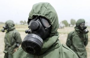 Indian Army Personnel running a Chemical Attack drill in Punjab