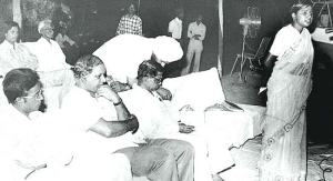 Kanshi Ram (second from the left) listens to a young Mayawati speaking