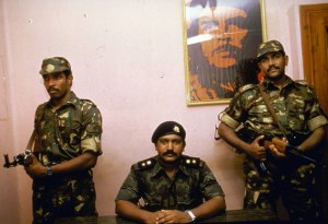 Feared LTTE leader Prabhakaran, flanked by Indian guards