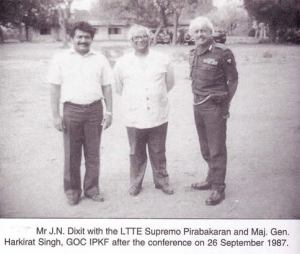 From left: Prabhakaran, Dixit and General Harkirat Singh. Ten days after this picture was taken, they will be fighting a war against each other.