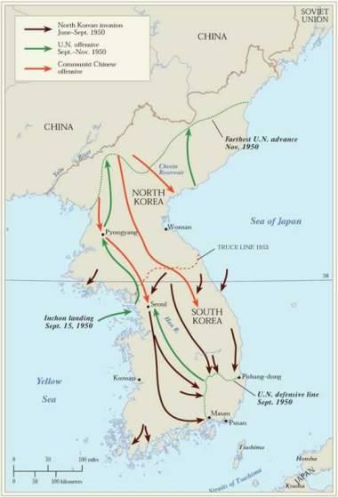 Korean War through map