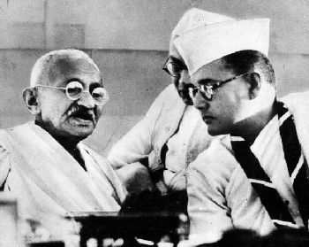 Gandhiji with Subhas Chandra Bose at Haripura Congress in 1938.